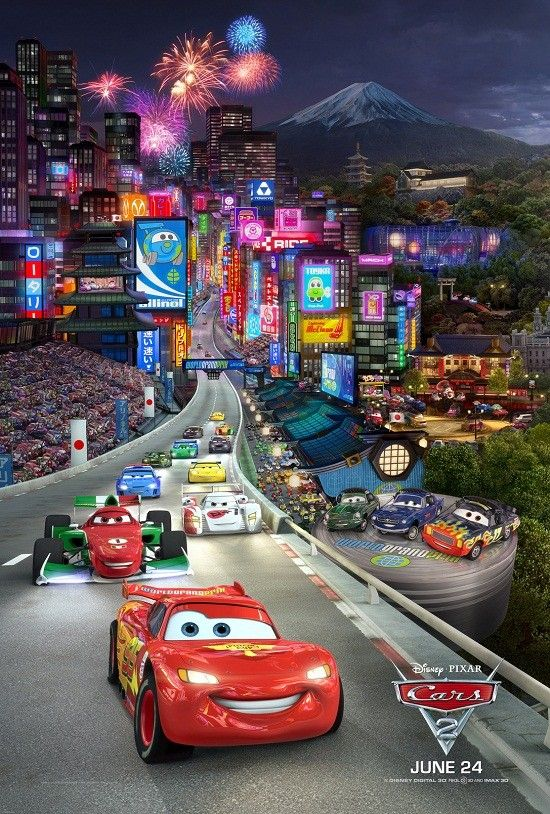 """CARS 2"" Triptych panel 1 of 3 - Japan ©Disney/Pixar. All Rights Reserved."