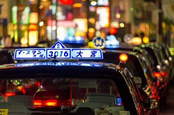 Taxi lights in the Omiya ward of Saitama, Japan.